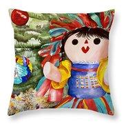 Christmas Muneca Throw Pillow