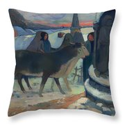 Christmas Night Blessing Of The Oxen Throw Pillow