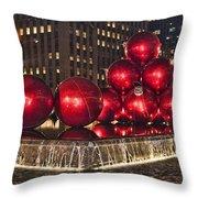 Christmas On 5th Avenue Manhattan 1 Throw Pillow