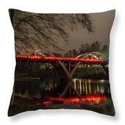 Christmas On Caveman Bridge Throw Pillow