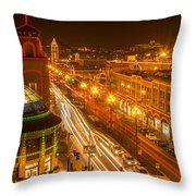 Christmas On The Plaza Throw Pillow
