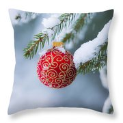 Christmas Ornament Throw Pillow by Diane Diederich