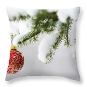 Christmas Ornament In The Snow Throw Pillow