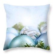 Christmas Ornaments On Blue Throw Pillow