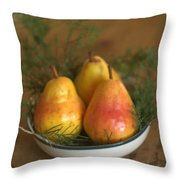 Christmas Pears In A Bowl Throw Pillow