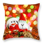 Christmas Penguin And Puppy Throw Pillow