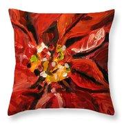 Christmas Poinsettia Throw Pillow