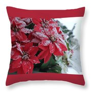 Christmas Poinsettia Flowers Throw Pillow