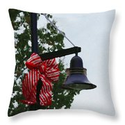 Christmas Post And Bow Throw Pillow