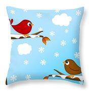 Christmas Red Cardinal Bird Pair Winter Scene Throw Pillow