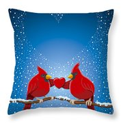 Christmas Red Cardinal Twig Snowing Heart Throw Pillow by Frank Ramspott