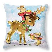 Christmas Reindeer And Rabbit Throw Pillow