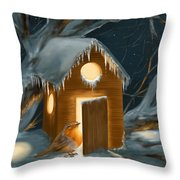 Christmas Robin Throw Pillow