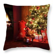 Christmas Scene With Tree And Fire In Background Throw Pillow