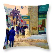 Christmas Shoppers Ogilvys Enchanted Village Window Display A Montreal Xmas Tradition Carole Spandau Throw Pillow
