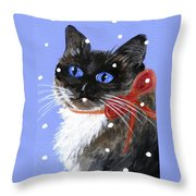 Christmas Siamese Throw Pillow