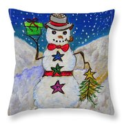 Christmas Snowman With Gifts Of Love Throw Pillow