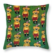 Christmas Teddies Throw Pillow