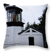 Christmas Time At Cape Meares Lighthouse Throw Pillow