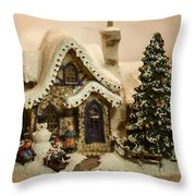 Christmas Toy Village Throw Pillow