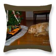 Christmas Train Throw Pillow