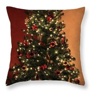 Red And Gold Christmas Tree Without Caption Throw Pillow