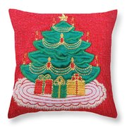 Christmas Tree Embroidered Throw Pillow