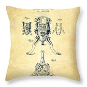 Christmas Tree Holder Patent From 1880 - Vintage Throw Pillow