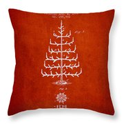 Christmas Tree Patent From 1882 - Red Throw Pillow