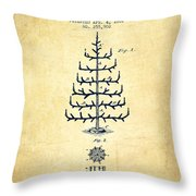 Christmas Tree Patent From 1882 - Vintage Throw Pillow