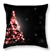 Christmas Tree Shining On Black Background Throw Pillow