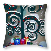 Christmas Tree Swirls And Curls Throw Pillow