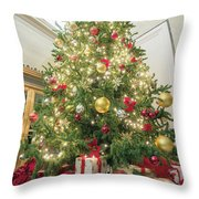 Christmas Tree  With Presents Tall Perspective Throw Pillow