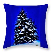 Christmas Tree With Red Ball Throw Pillow