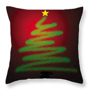 Christmas Tree With Star Throw Pillow