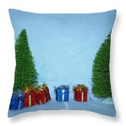 Christmas Trees With Red And Blue Presents Throw Pillow