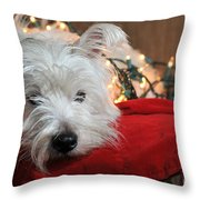 Christmas Westie Throw Pillow