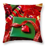 Christmas Wrap With Heart Ornament Throw Pillow