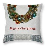 Christmas Wreath And Vintage Bulbs Throw Pillow