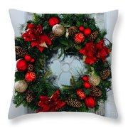 Christmas Wreath Greeting Card Throw Pillow