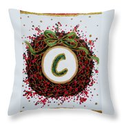 Christmas Wreath Initial C Throw Pillow