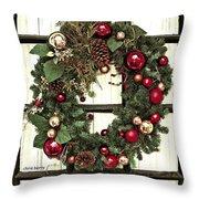 Christmas Wreath On Black Door Throw Pillow
