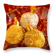 Christmasball Cupcakes In Red Throw Pillow