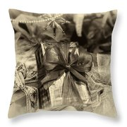 Christmasgift Under The Tree In Sepia Throw Pillow