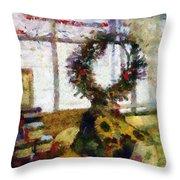 Christmastime Folk Art Fantasia Throw Pillow