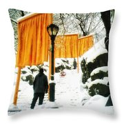 Christo - The Gates - Project For Central Park In Snow Throw Pillow