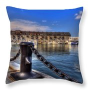 Christopher Columbus Park Waterfront Throw Pillow by Joann Vitali