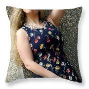 Christy Blue Minidress-40-2 Throw Pillow