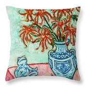 Chrysanthemum And Frog Throw Pillow