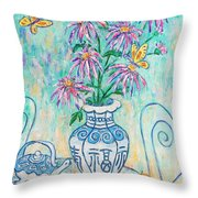Chrysanthemum Study With Chinese Symbols  Throw Pillow